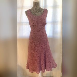 Ann Taylor Mauve Black Dress Size 14